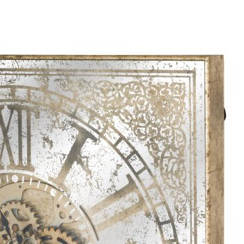 Large Mirrored Square Framed Clock With Moving Mechanism
