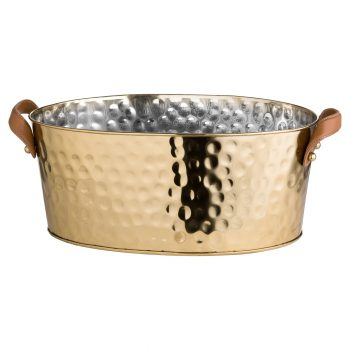 Brass Large Leather Handled Champagne Cooler
