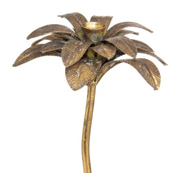 Antique Bronze Palm Tree Candle Holder