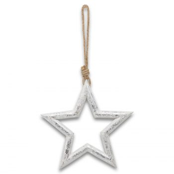Large Silver Wooden Star Hanging Decoration