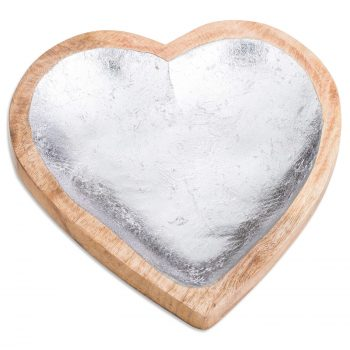 Wooden Heart Dish With Metallic Detail