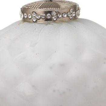The Noel Collection White Textured Small Hanging Bauble