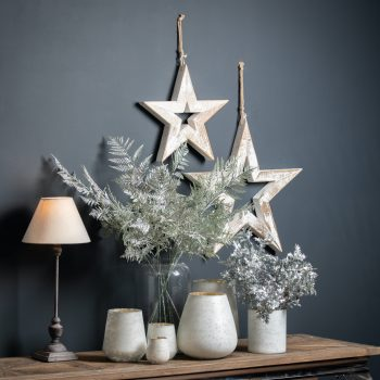 The Noel Collection White Medium Etched Candle Holder