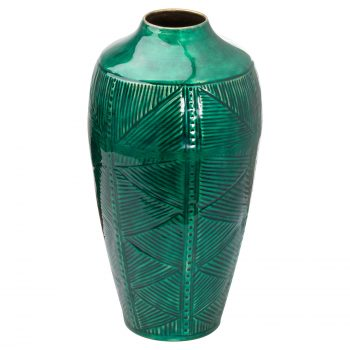 Aztec Collection Brass embossed Ceramic Dipped Urn Vase
